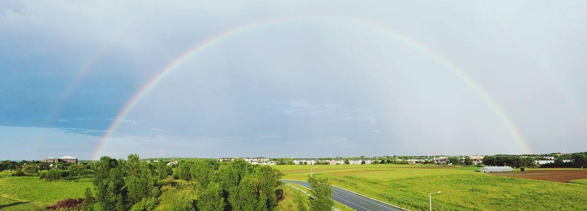 Double Rainbow Landscape Rainbow Rainbow Sky Wisconsin Beauty In Nature