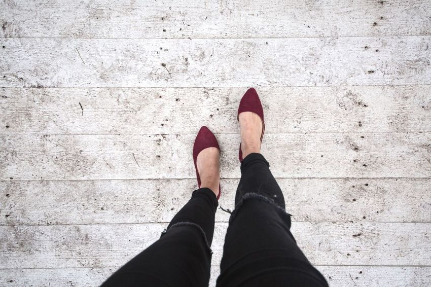 Walking Around Walk Shoes Jeans From My Point Of View From Above  Feet Steps Step Way On The Way On The Road Going Leaving Girl Bye Journey Copy Space