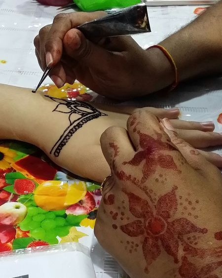 Art And Craft Indoors  Human Body Part Human Hand Multi Colored People Close-up Adult Henna Henna Art Henna Tattoo Henna Artist Henna Design Indian Festiveseason