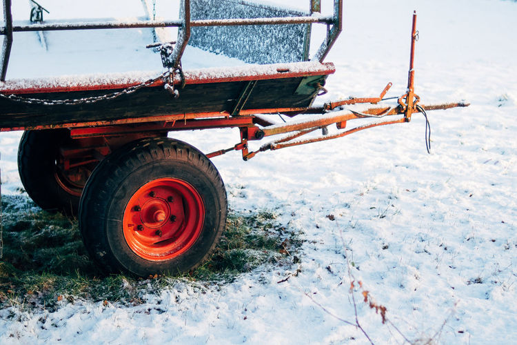 High angle view of trailer on snow