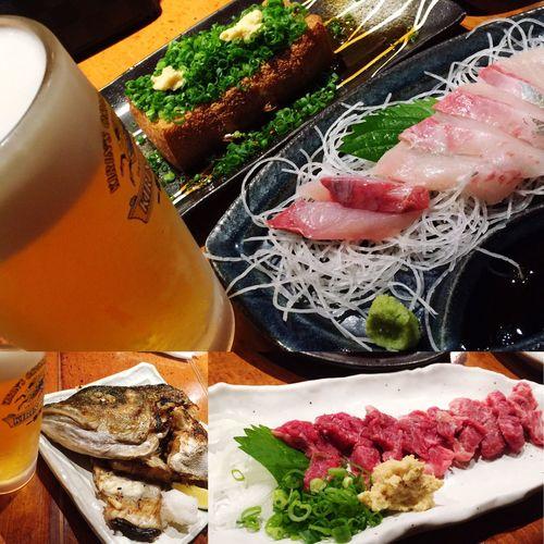 美味い\(//∇//)\ 生ビール Sashimi  Bier さしみ 刺身 馬刺し カマ焼き