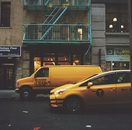 """Hope Messenger"", February 2016 Manhattan Chelsea NYC Nyctaxi Yellowcab Streetphoto_color Lubitel Medium Format Film Photography Kodak Portra 400 Kodak Portra Kodak Portra"