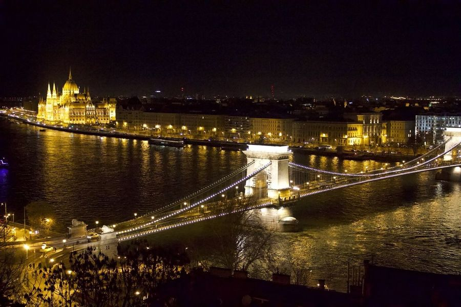 Memories of January Budapest Hungary Architecture River Bridge - Man Made Structure Water Connection Night Illuminated Built Structure No People City Politics And Government Chain Bridge Inner Power