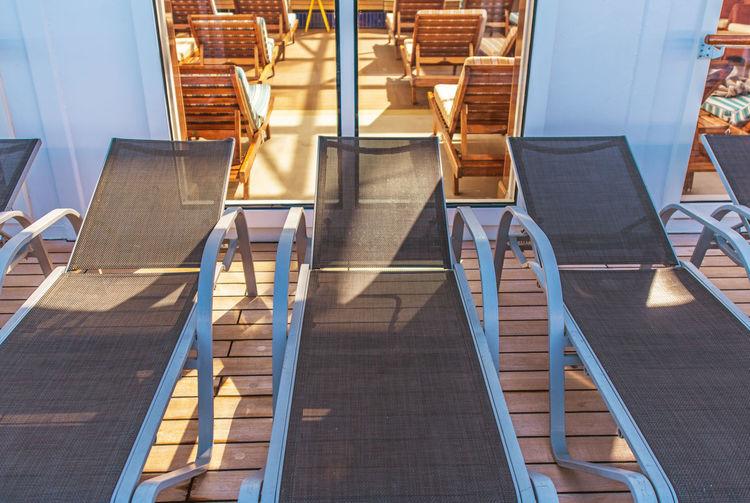 High angle view deckchair outdoors