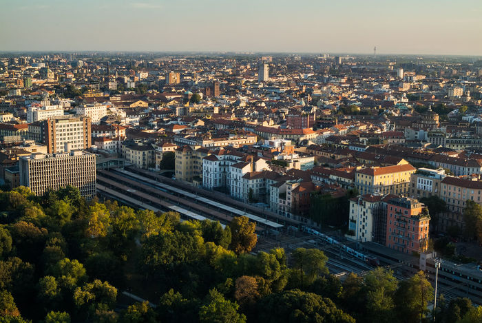 Milano, old city, aerial view, Cadorna Station Milan Above Architecture Building Building Exterior Built Structure Cadorna City Cityscape Day Dusk High Angle View Nature No People Outdoors Plant Residential District Sky Skyscraper Trainstation Travel Destinations Tree EyeEmNewHere