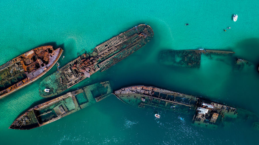 Aerial Footage of the old whaling ships at Tangalooma on Moreton Island, Queenslad Beauty In Nature Nautical Vessel Transportation Mode Of Transportation Turquoise Colored Water Ship High Angle View Sea Nature Aerial View Drone  Dronephotography Tranquility Moreton Bay Queensland Australia Outdoors