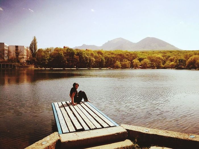 Железноводск Lake Water Mountain Full Length Reflection Sitting One Person Adult Outdoors Relaxation People Nature Adults Only Beauty In Nature One Man Only Day Sky Only Men Young Adult First Eyeem Photo