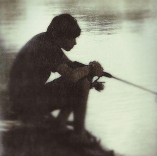 Fishing Son Silhouette Austin Texas