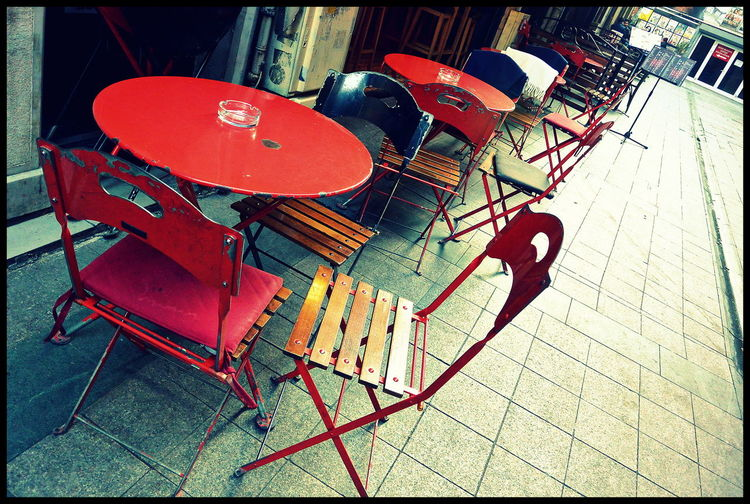One of many side streets of Istiklal Cadessı Colorful Cafe Colorful Tables Empty Empty Cafe Empty Chair Empty Tables Istanbul Style Outdoors Red Table Tables And Chairs Turkish Cafe Istanbulphotography