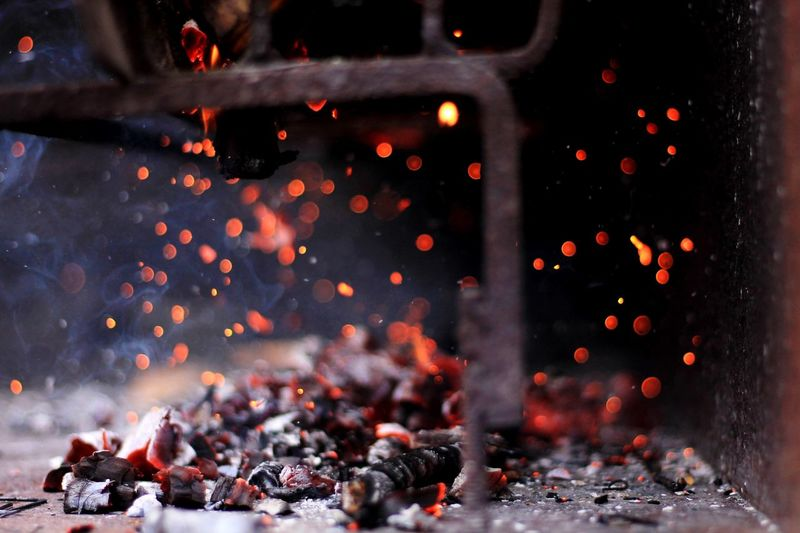 Close-up of burning coal