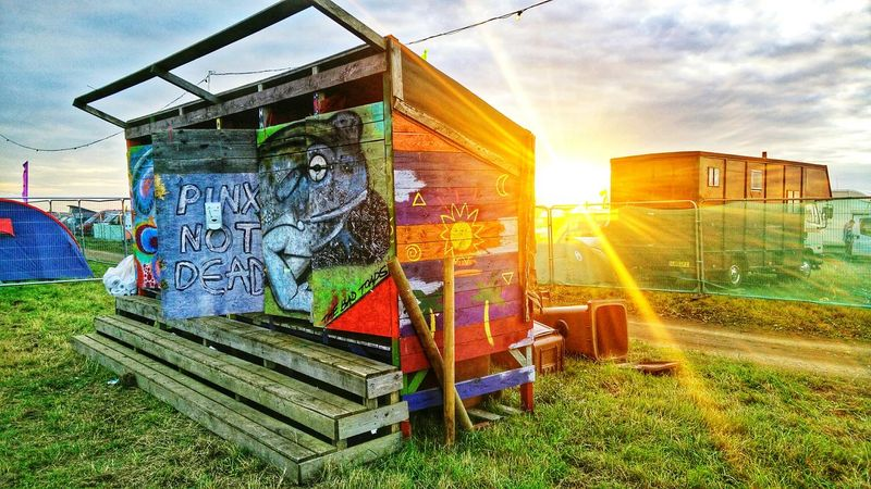 Hippie Festival Toad Graffiti Toilets Sunset HDR
