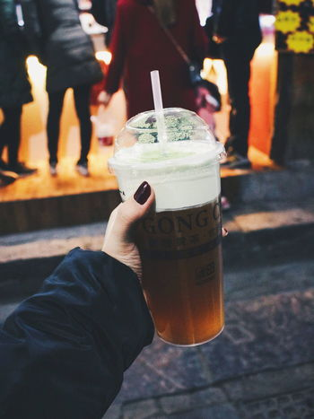 Drinks Holding Hands Drink Drinking Straw Focus On Foreground Food And Drink Hand Holding Human Hand Lifestyles Personal Perspective Straw