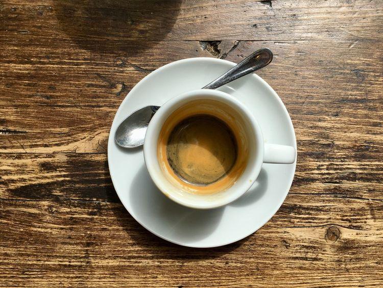 Espresso Coffee Espresso Drink Refreshment Cup Food And Drink Coffee - Drink Mug Spoon Coffee Cup Table High Angle View