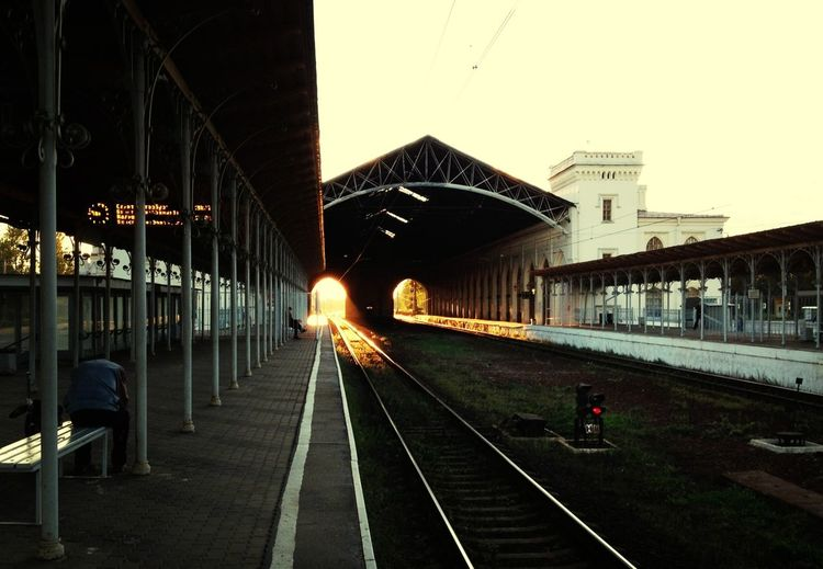 Sunset on Railway ... Train Station Coming Home