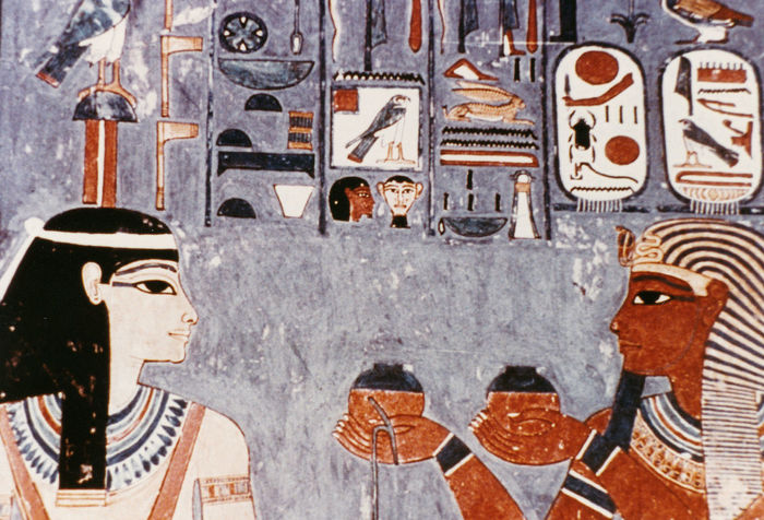 Wall painting in the Tomb of Horemheb - Valley of the Kings, Thebes, Luxor, Egypt Day Outdoors Valley Of The Kings Sarcophagus Close-up Headdress Offerings No People Sweetmeats Cartouche Egyptology Offerings To The Gods Luxor, Egypt Cartoucherie Thebes Horemheb Pharohs Tromb Gifts For Wife