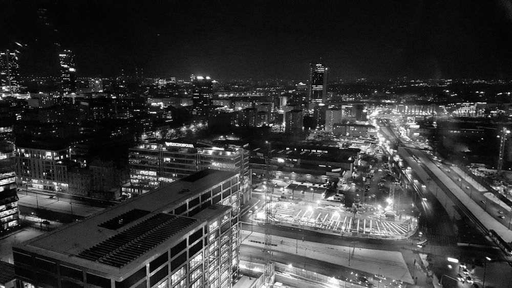 Blackandwhite Cityinthenight Night City Illuminated High Angle View Architecture Building Exterior Cityscape Skyscraper