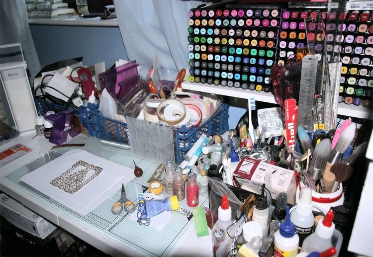 untidy desk in