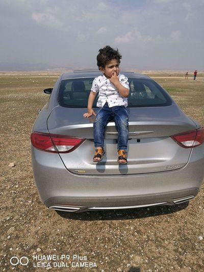 Child Full Length Childhood Boys Males  Car Front View Summer Adventure Sky