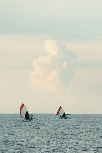 fishing Traditional Fishing Boat Fishing Sailboat Sailing EyeEm Selects Sea Outdoors Nature Day Water Horizon Over Water Sailing Nautical Vessel No People Sky