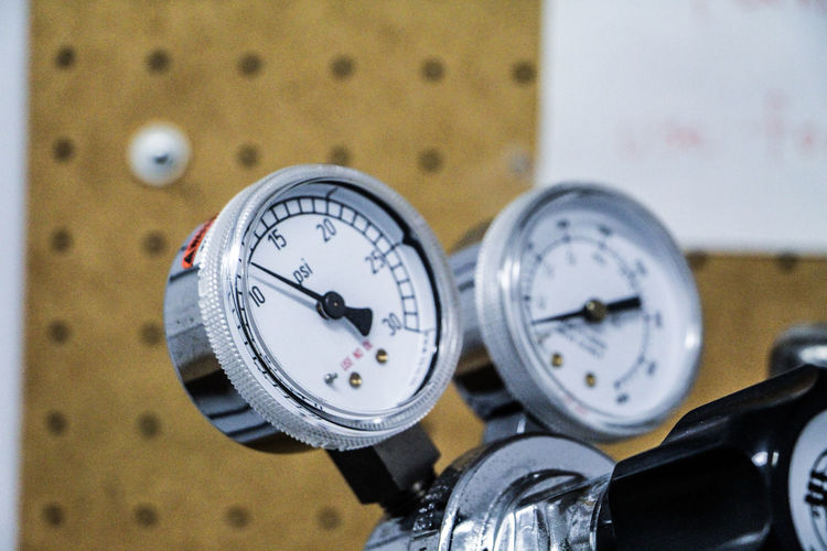 Close-up of machine gauges