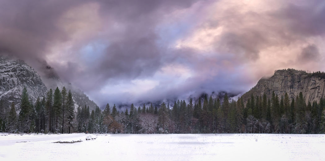 A New Awakening - Stormy Sunset in Yosemite Valley Beauty In Nature Cloud - Sky Cloudy Cold Curryvillage Forest Mountains Outdoors Overcast Sky Snow Storm Tranquil Scene Yosemite National Park Showcase: January It's Cold Outside