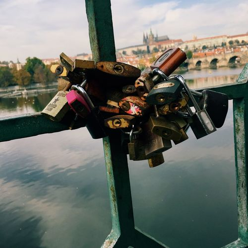 Padlocks in prague Landmark Architecture Lovers Romance Love Europe Czech Republic Prague Praha Water Architecture Built Structure Reflection Building Exterior Sky River Day City Padlock Outdoors