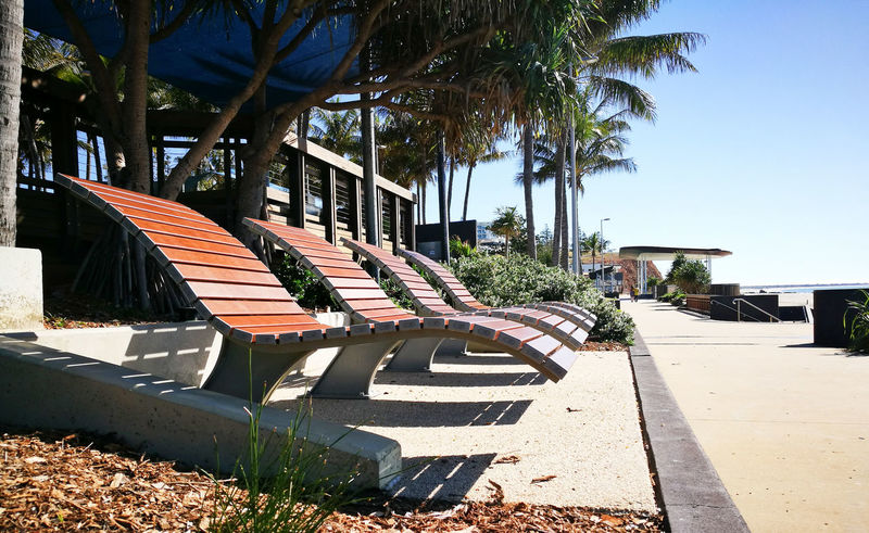 Architecture Bench Built Structure Day Nature No People Palm Tree Plant Sun Loungers Sunlight Tree Tropical Climate