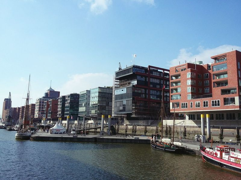 Hafencity Hamburg. · Germany Hh 040 Hafencity Hamburg Cityscape Architecture Modern Architecture Urban Landscape Urban Geometry Waterfront Water Travel Destinations Outdoors Harbor No People City Building Exterior Urban Skyline Sky Blue Sky