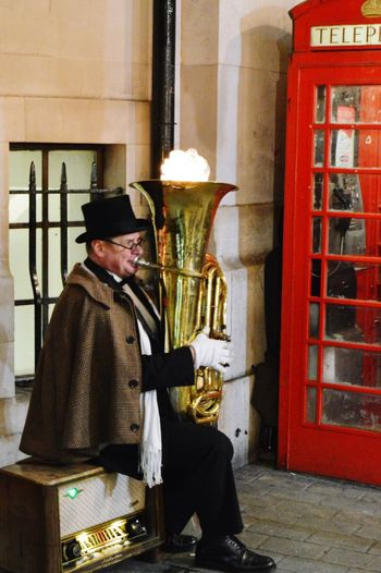 Old But Awesome Showcase: December Busking Streetphotography Brass Live Music Fire Londonlife Dapper Something Different Entertainment Street Entertainment Tuba