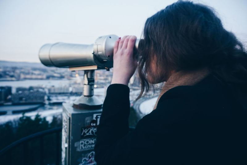 Adults Only Sky Technology One Person Cityscape People City Outdoors Coin-operated Binoculars Close-up Telescope Day Travel Destinations Cityscapes City Life Tourist Attraction  Tourism Tourist Travel Oslofjord Tourist Attraction  Ekebergrestauranten Oslo Norway Only Women