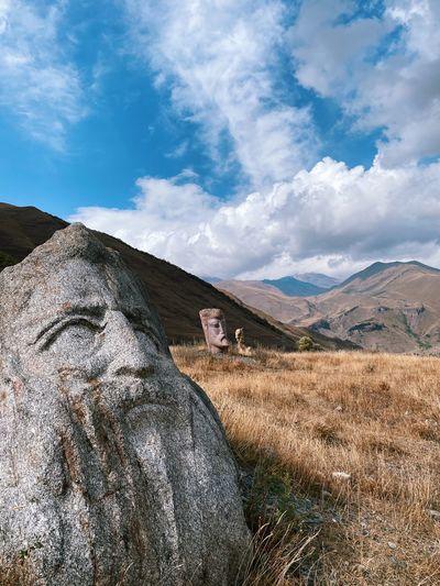Scenic view of sculptures in field