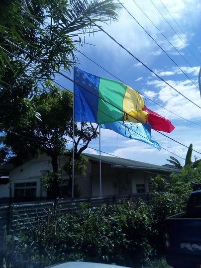 there, they are, hau paku-motu teie to reva ra Paku-Motu Flag Patriotism Built Structure Outdoors Building Exterior Architecture No People Multi Colored Sky