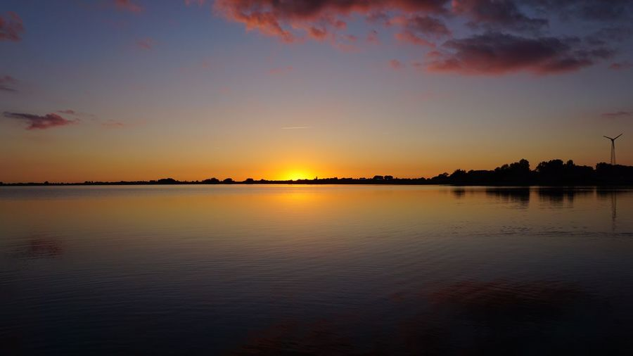 No Edit/no Filter Sky Water Sunset Scenics - Nature Beauty In Nature Tranquility Tranquil Scene Reflection Waterfront Cloud - Sky Nature No People Orange Color Silhouette Idyllic Outdoors Non-urban Scene