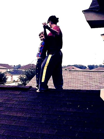 Thats Me  My Son Rooftop Checking Out The View Enjoying Life Heights Dont Fall Makingmemories Love Daredevil Outside