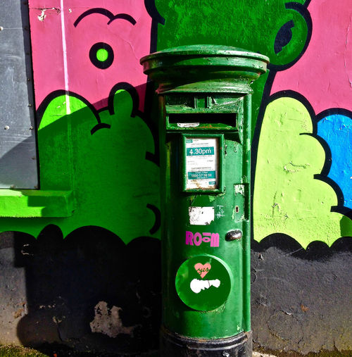 Close-up Cork City Cork Graffiti Green Color Green Post Box Multi Colored Outdoors Postbox Shadow And Light