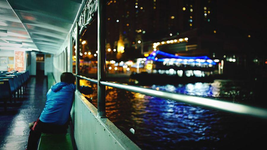 on the ferry HongKong Discoverhongkong All_shots Hot_shotz Leica Leicaq Nightphotography Ferry Harbour Night Lights Night 夜景 香港