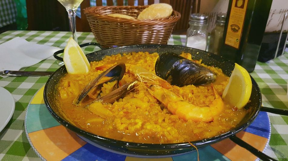 Food And Drink Table Food Ready-to-eat Spanish SPAIN Europe Granada Fish Paella Travel Travel Photography Close-up Indulgence Indoors  No People Freshness Temptation Food Meal Dinner Typical SEAFOOD🐡 Rice Mussels Plate pan