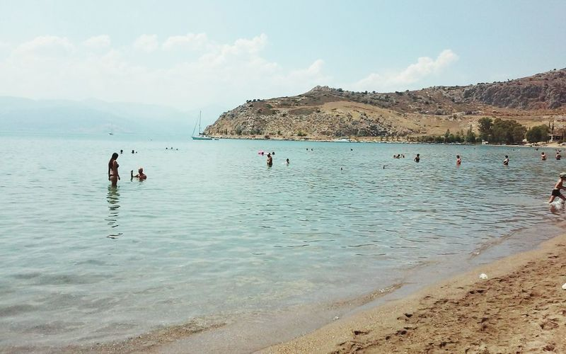 People At The Beach Swimming Blue Sea Sea Sea And Sky Horizon Over Water Blue Sky Beach Time Beach Day Beach Life Beach Photography Beach Blue Day Greek Islands Sunny GREECE ♥♥