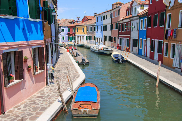 Burano's Colored Houses, Venice Architecture Blue Boat Building Building Exterior Built Structure Burano, Italy Canal City Colored Day Houses Italy Mode Of Transport Nautical Vessel No People Outdoors Residential Building Residential Structure Rippled Sky Town Traditional Houses Venice, Italy Water