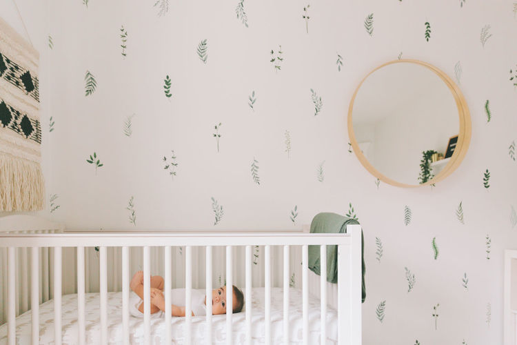 A baby in his crib in a beautiful nursery. Indoors  Home Interior Childhood Crib Baby Nursery Wall Art Home