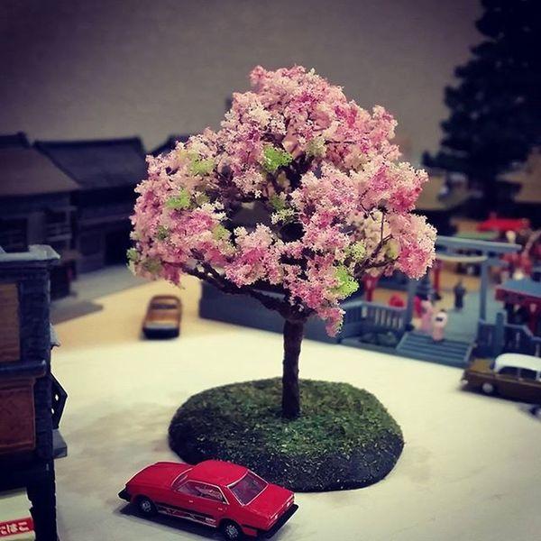 当カフェのジオラマ、神社前のロータリーに早咲きの桜が咲きました。 ぜひお花見にお越しくださいね。