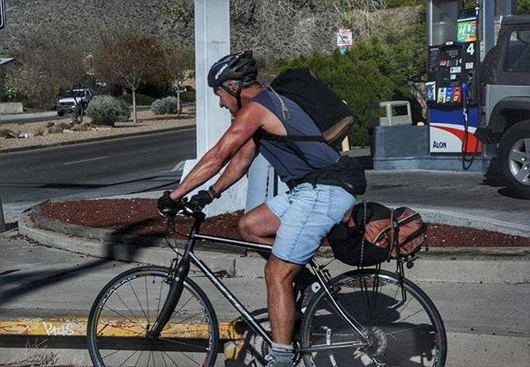 A cyclist at an