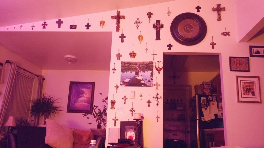My wall of crosses collected.... constant reminder of the sacrifices made by our father in heaven. Merry CHRIST-mas Friends and Family Love ya and be Blessed!