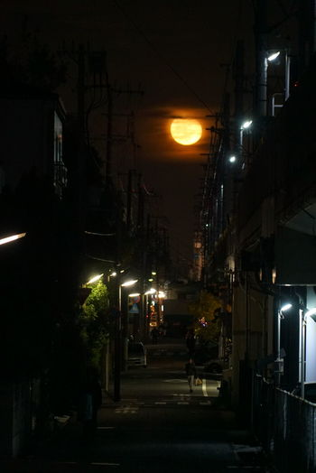 Architecture Building Exterior City Illuminated Japan Kobe-shi,Japan Moon Night No People Outdoors Road Sky Sony A7s Street Light Supermoon Tree みかげ 神戸