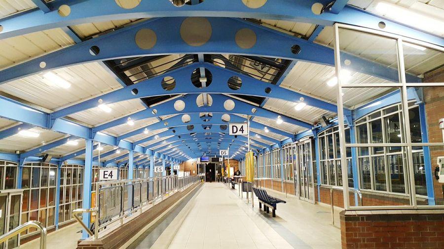 Interior of illuminated bus station