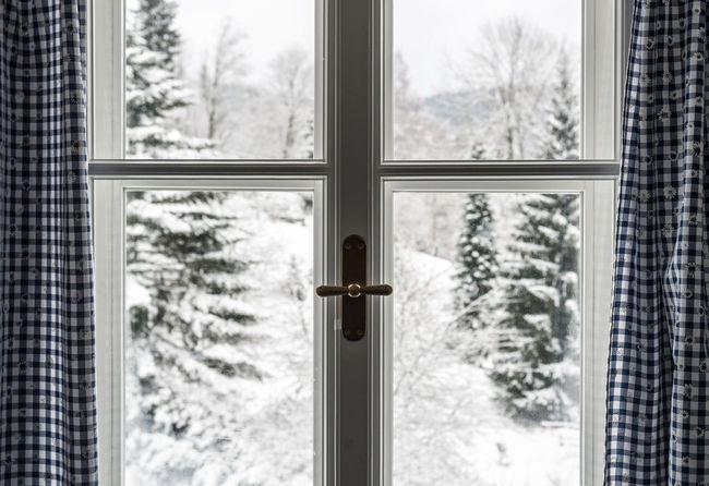 closed Closed EyeEm Best Shots ForTheLoveOfPhotography Textured  Weather Architecture Close-up Cold Temperature Curtain Day Focus On Foreground Geometric Shape Geometry Glass - Material Indoors  Looking Through Window Nature No People Snow Snowflake Symmetry Tree Window Shades Of Winter