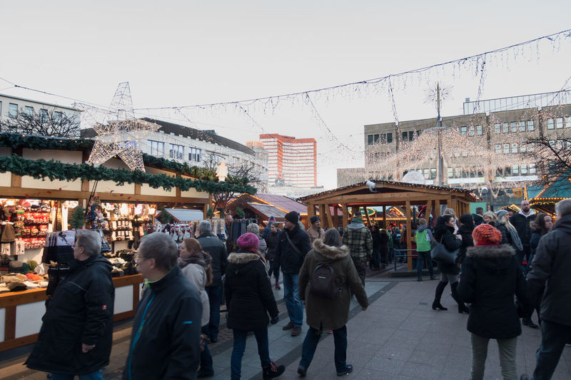 ESSEN, GERMANY - DECEMBER 04, 2016: Unidentified individuals populate the famous Christmas market downtown. Adult Adults Only Celebration Christmas-market Xmas Christmss City Crowd Day Essen Getting Inspired Large Group Of People Outdoors People Place To Visit Scenics Sky Urban Winter Women