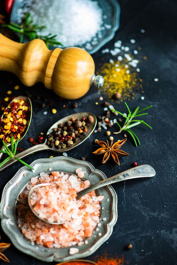 High angle view of spices and seasonings on table