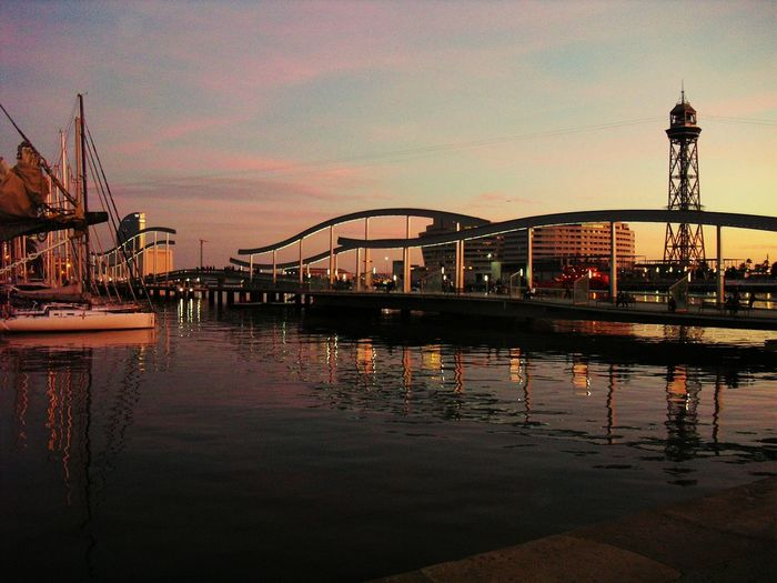 Built Structure Architecture Waterfront Reflection Travel Destinations Harbor Famous Place Water Sky ,lights , Barcellona