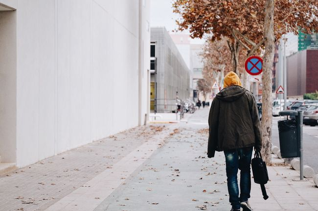 Yellow Hoodie Hood Streetphotography Street Fashion Boy Young Men Walking Negative Space Autumn Autumn Colors Outdoors Lifestyle Showcase: December RePicture Growth Afternoon Walk Trees Simplicity Minimalism Wall Clothes Casual Clothing Student Everyday Lives My Student Life